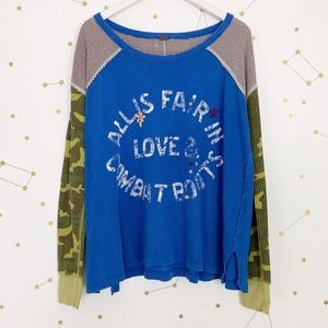 Free People • Alls Fair In Love Graphic Combat Tee